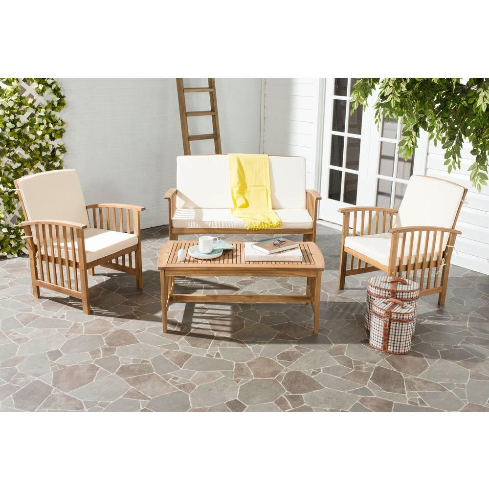 Safavieh Rocklin Teak Look 4 Piece Patio Conversation Set With Beige  Cushions