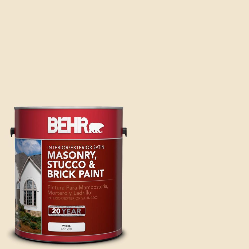 1 gal. #S310-1 Writing Paper Satin Interior/Exterior Masonry, Stucco and Brick Paint