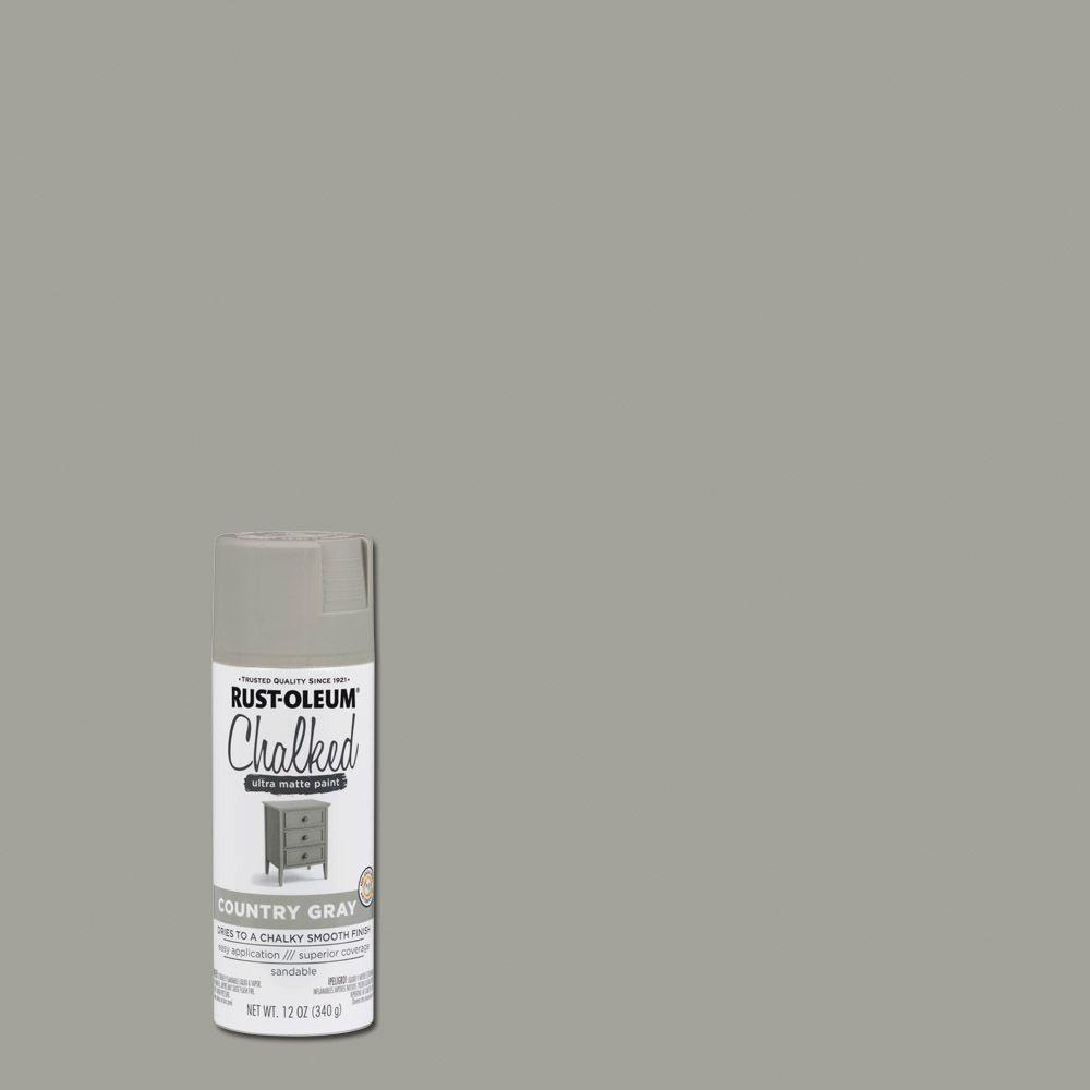 Rust Oleum 12 Oz Chalked Country Gray Ultra Matte Spray Paint 302593 The Home Depot