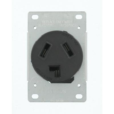 30 Amp 125-Volt/250-Volt Shallow Single Flush Mounted Outlet, Black