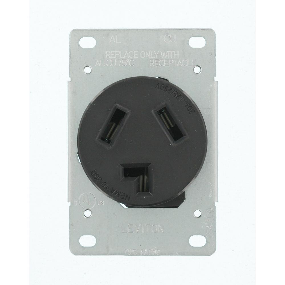 30 Amp 125/250-Volt Shallow Single Flush Mounted Outlet, Black