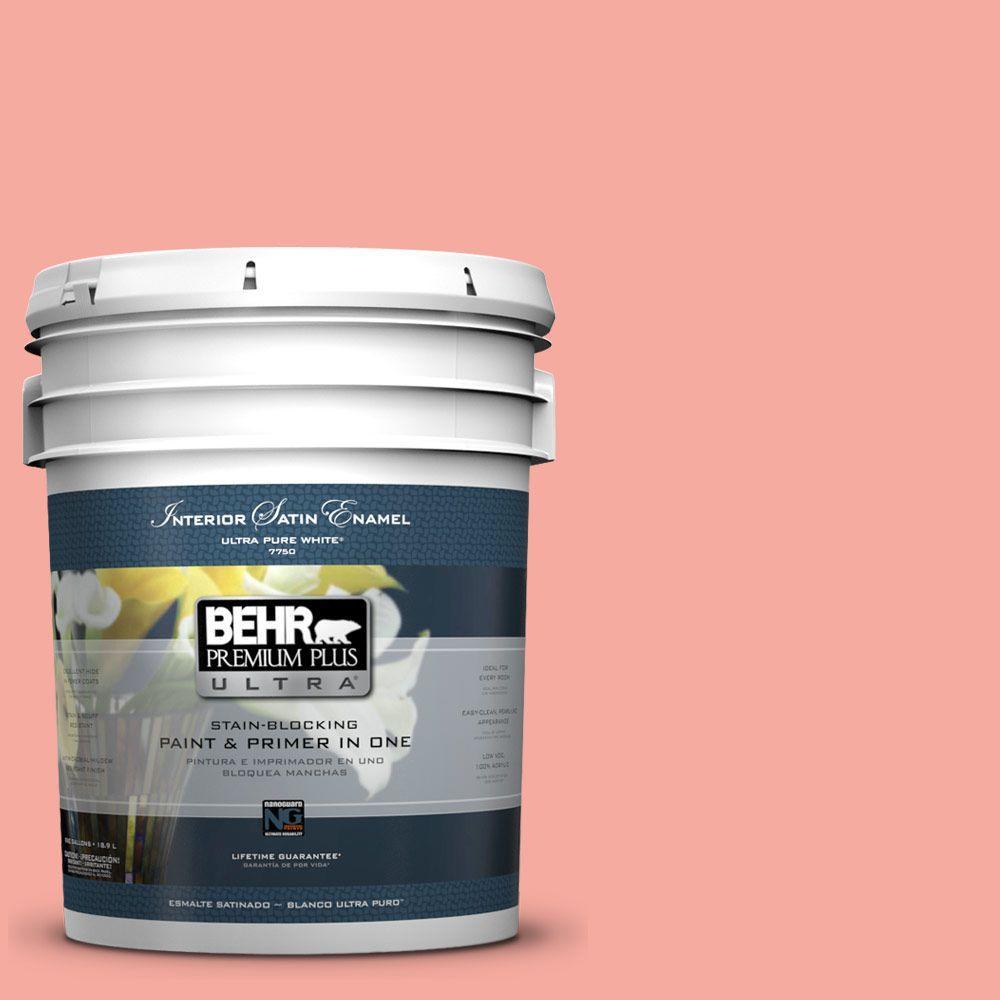 BEHR Premium Plus Ultra 5-gal. #190D-4 Rosy Outlook Satin Enamel Interior Paint