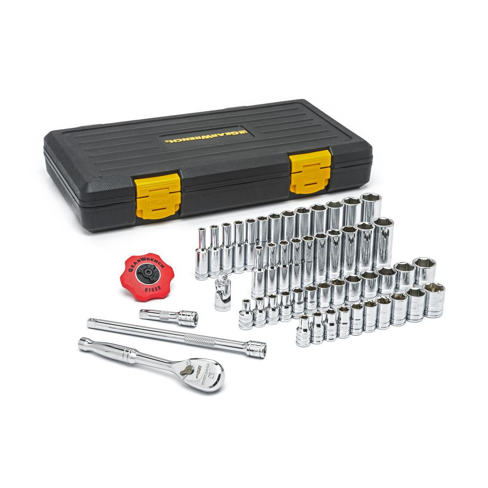 GearWrench 1/4 in. Drive 120XP Ratchet and SAE/METRIC Std./Deep Socket Set (51-Piece)