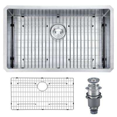 Pro Series R10 Tight Radius Handmade 32 in. 16-Gauge Stainless Steel Undermount Modern Single Bowl Kitchen Sink