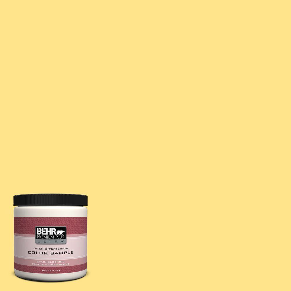 BEHR Premium Plus Ultra 8 oz. #370A-3 Bicycle Yellow Flat Interior/Exterior Paint and Primer in One Sample