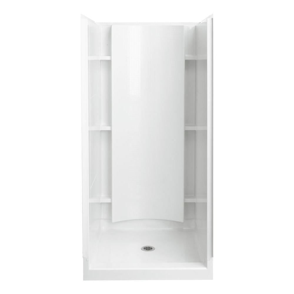Sterling accord 36 in x 36 in x 75 3 4 in shower kit in for Bathroom partitions home depot