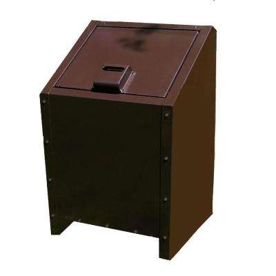 34 Gal. Metal Animal Proof Trash Can in Brown