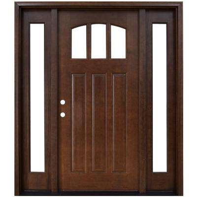 Craftsman 3 Lite Arch Stained Mahogany Wood Prehung Front Door with  Sidelites Doors Exterior The Home Depot