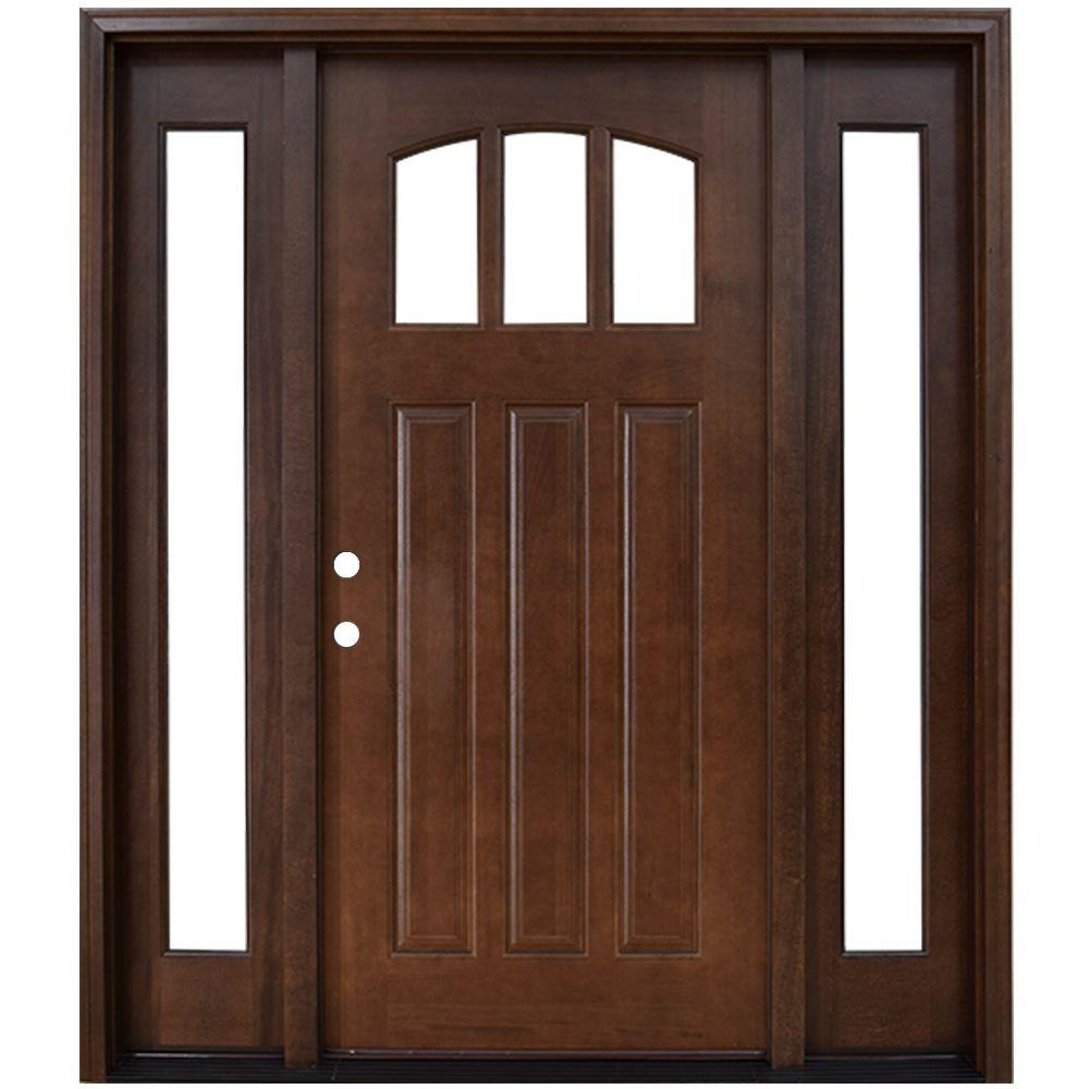 Steves & Sons 68 in. x 80 in. Craftsman 3 Lite Arch Stained Mahogany Wood Prehung Front Door with Sidelites