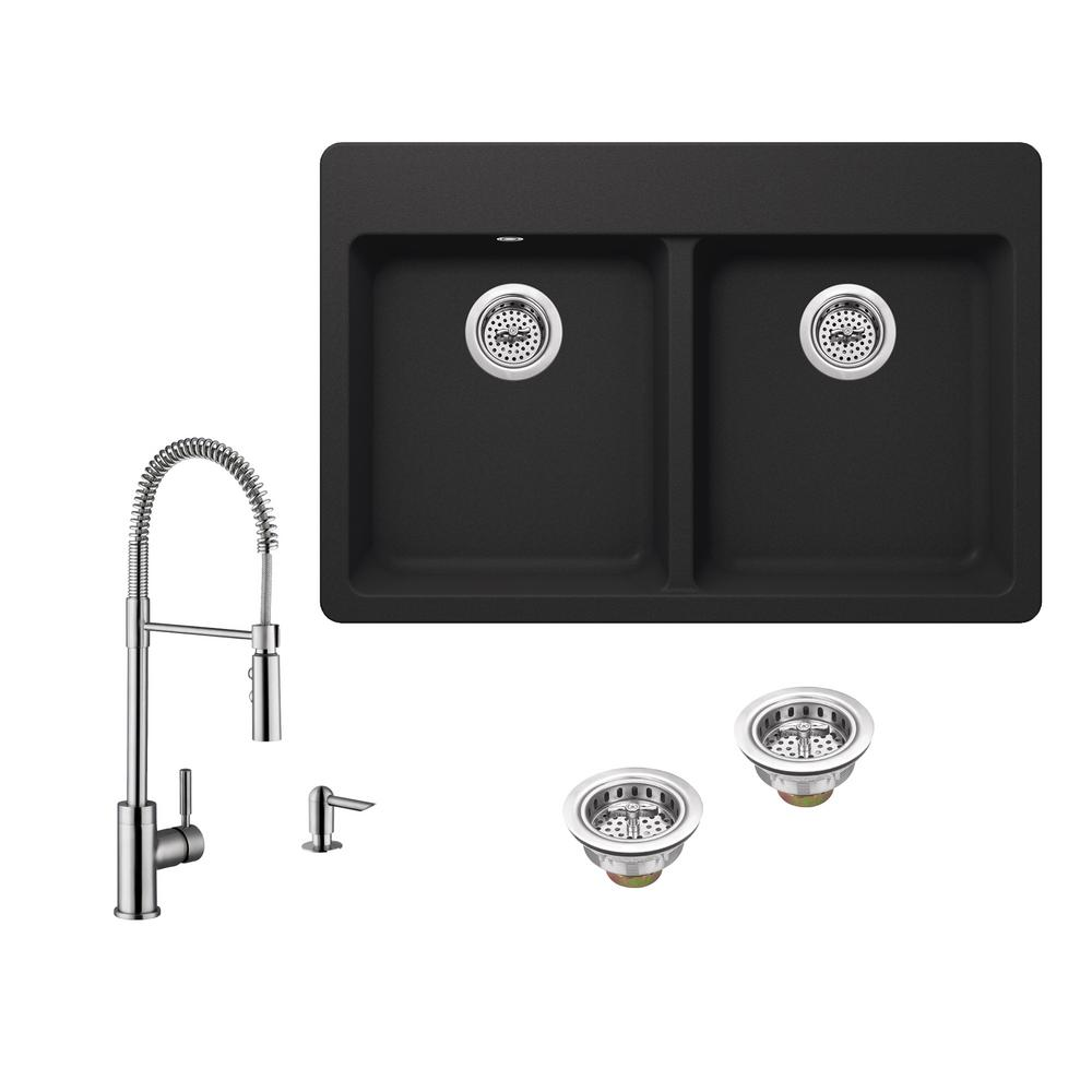 IPT Sink Company All-in-One Drop-in Granite Composite 33 in. 4-Hole ...