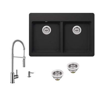 All-in-One Drop-in Granite Composite 33 in. 4-Hole 50/50 Double Bowl Kitchen Sink in Black Onyx with Pull Down Faucet