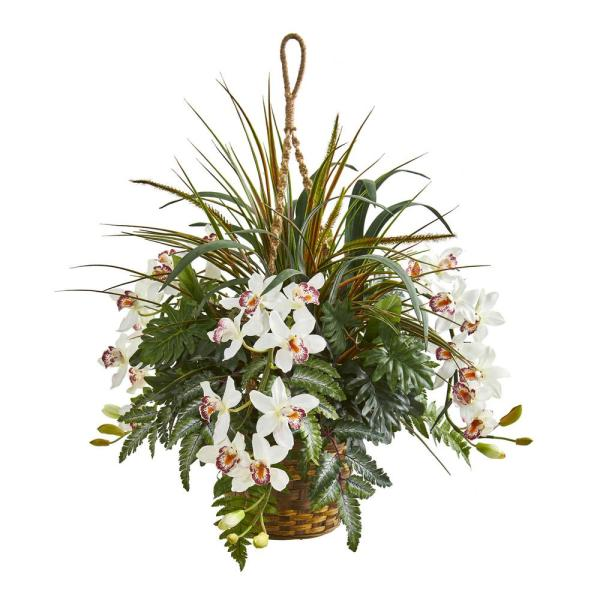 29 in. Indoor Cymbidium Orchid and Mixed Greens Artificial Plant Hanging Basket