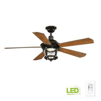 Smyrna Collection 52 in. LED Antique Bronze Ceiling Fan with Light Kit