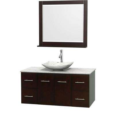 Centra 48 in. Vanity in Espresso with Marble Vanity Top in Carrara White, Marble Sink and 36 in. Mirror