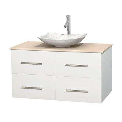 Centra 42 in. Vanity in White with Marble Vanity Top in Ivory and Carrara Sink
