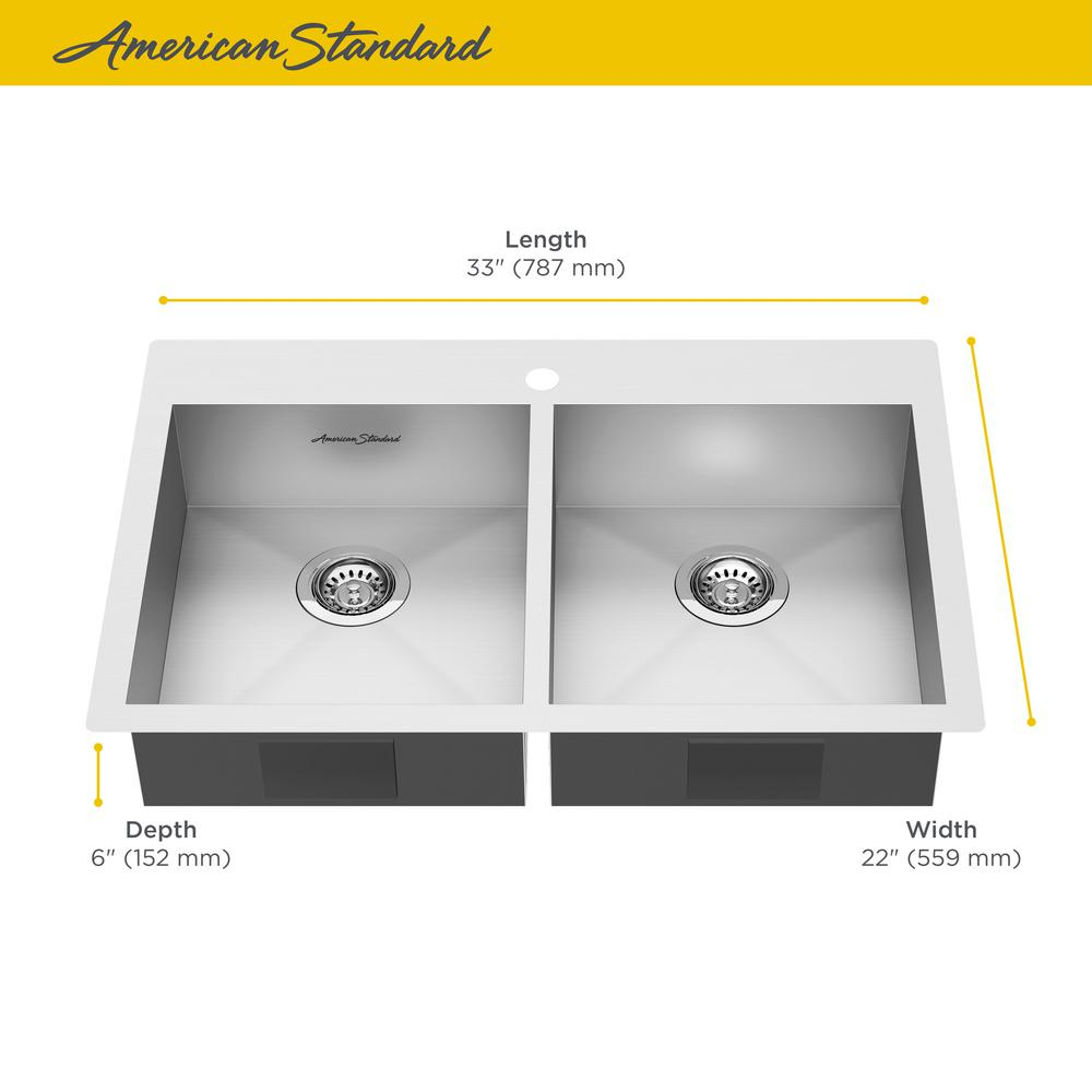 American Standard Edgewater Dual Mount Stainless Steel 33 in. ADA Double  Bowl Kitchen Sink