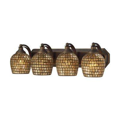 4-Light Aged Bronze Vanity Light with Gold Mosaic Glass