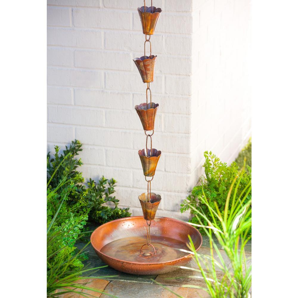 Evergreen 96 in. Flame Copper Finish Iron Rain Chain