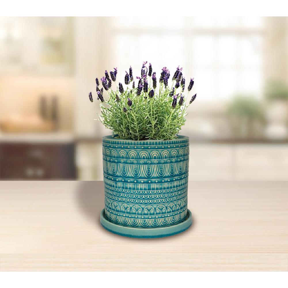 8 in. Dia Aqua Seven Seas Cylinder Ceramic Planter