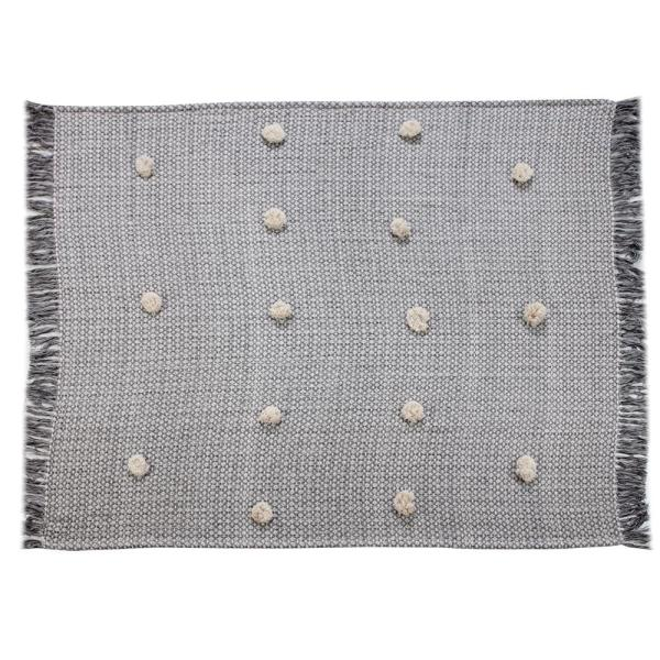 Grayscale Buds Black Melange Tassel Decorative Throw