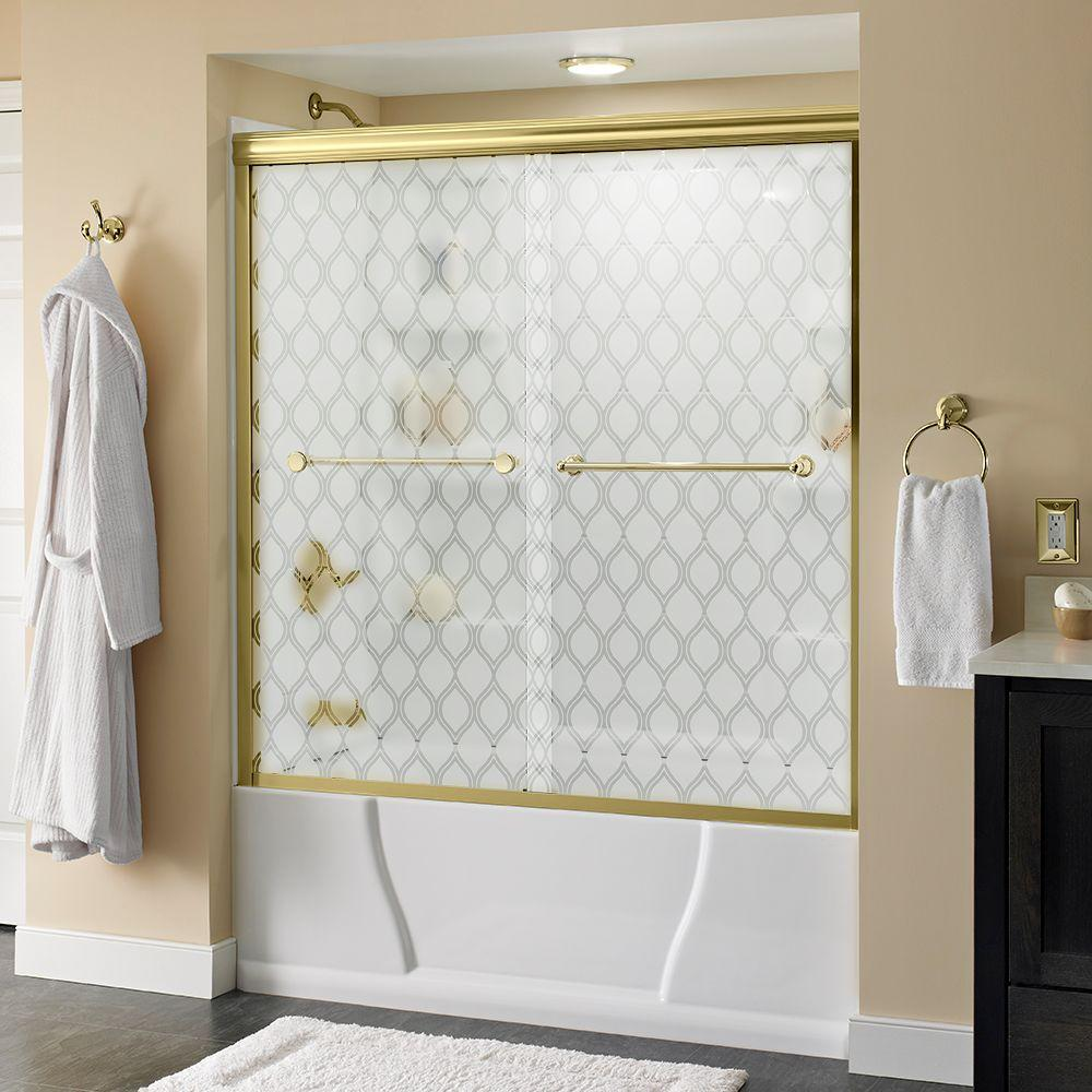 Delta Crestfield 60 in. x 58-1/8 in. Semi-Frameless Sliding Bathtub Door in Brass with Ojo Glass