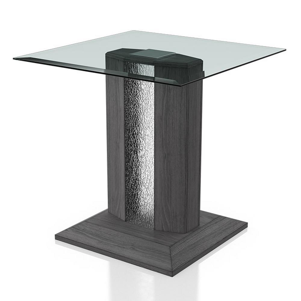 Ruban Gray Glass Top End Table