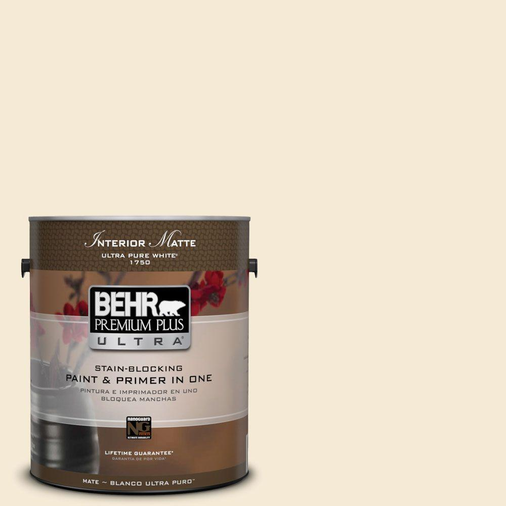 behr premium plus ultra 1 gal icc 10 vanilla cream matte interior paint and primer in one. Black Bedroom Furniture Sets. Home Design Ideas