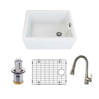 Quinn All-in-One Farmhouse/Apron-Front Fireclay 24 in. Single Bowl Kitchen Sink with Faucet in White