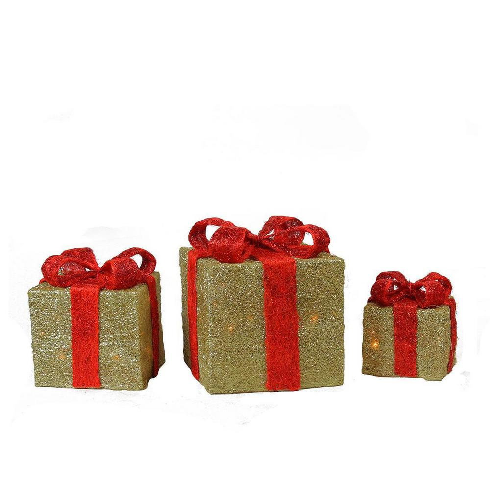 Northlight 10 in. Christmas Outdoor Decorations Lighted Sparkling Gold Sisal Gift Boxes (3-Pack)