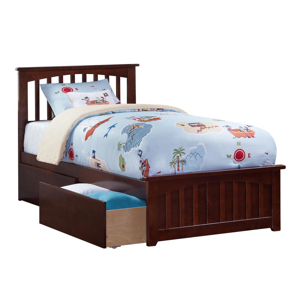 Atlantic Furniture Mission Antique Walnut Twin Platform Bed with ...