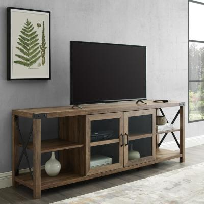 70 in. Reclaimed Barnwood Composite TV Stand Fits TVs Up to 78 in. with Storage Doors