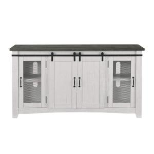 Rustic Barn Door 65 in. W TV Stand, White Stain an Grey Stain Fits TVs up to 70 in.