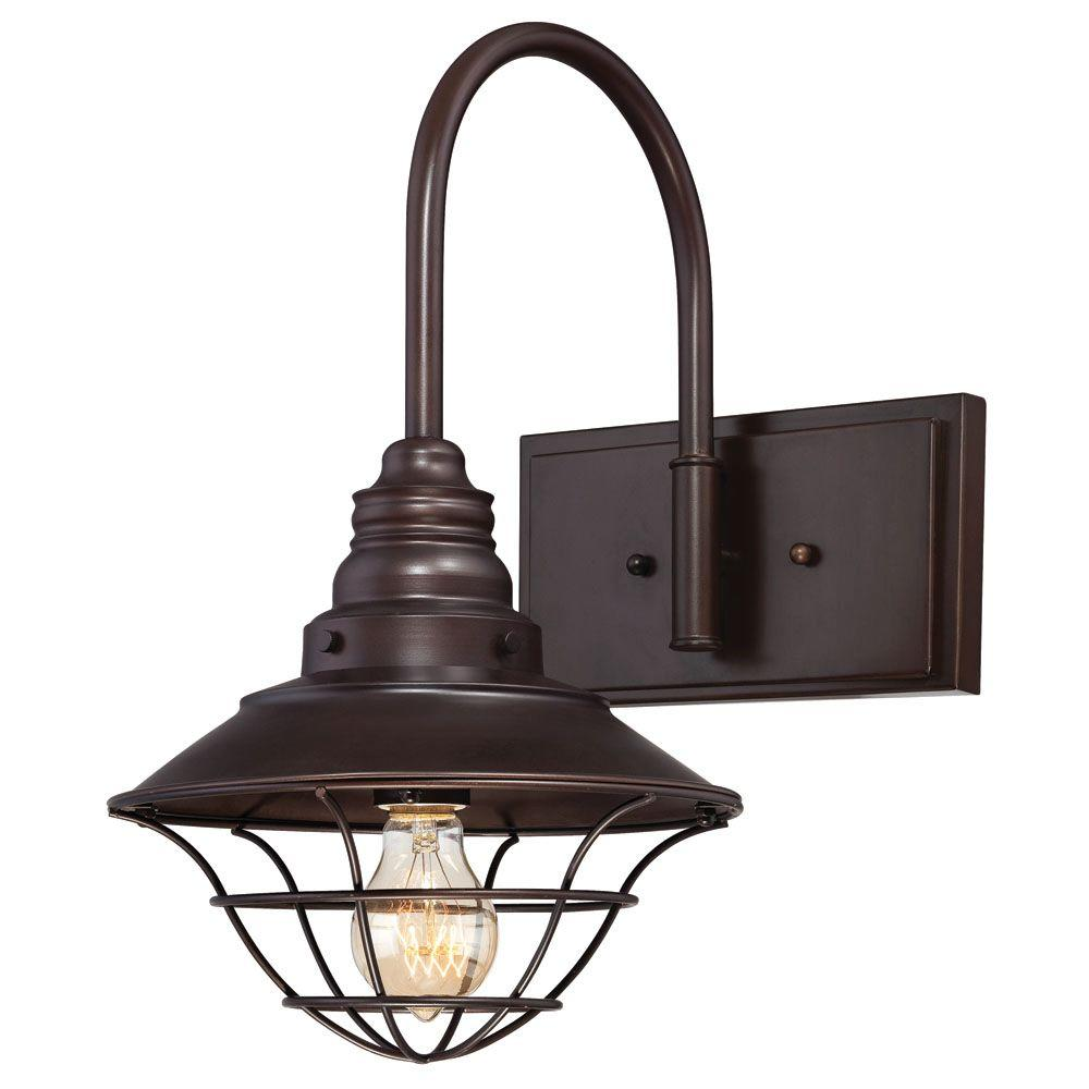 Westinghouse 1-Light Interior Oil Rubbed Bronze Wall Fixture with Metal Lantern Shade