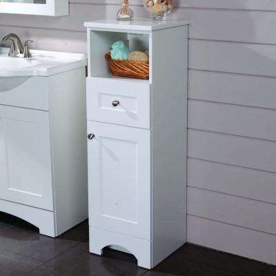 Del Mar 14-1/2 in. W x 45 in. H x 14-3/10 in. D Bathroom Linen Storage Cabinet in White