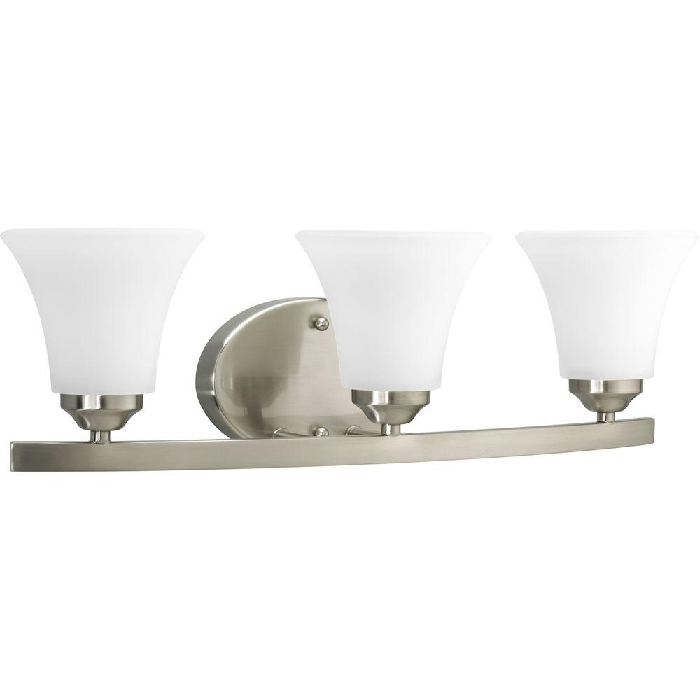 Adorn Collection 3-Light Brushed Nickel Vanity Light with Etched Glass Shades