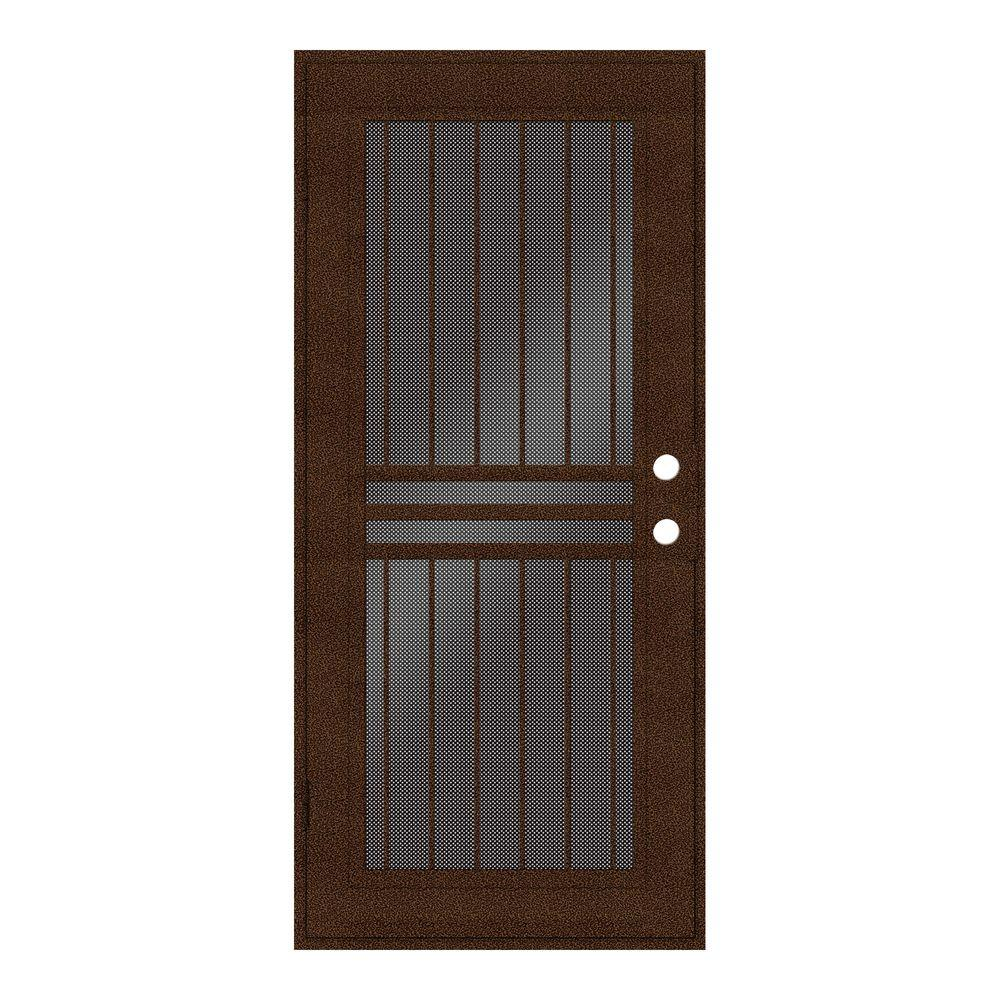 Unique Home Designs 32 in. x 80 in. Plain Bar Copperclad Left-Hand Surface Mount Aluminum Security Door with Black Perforated Screen