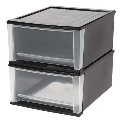 15.67 in. x 8.86 in. Black 32 Qt. Stacking Drawer (2-Pack)