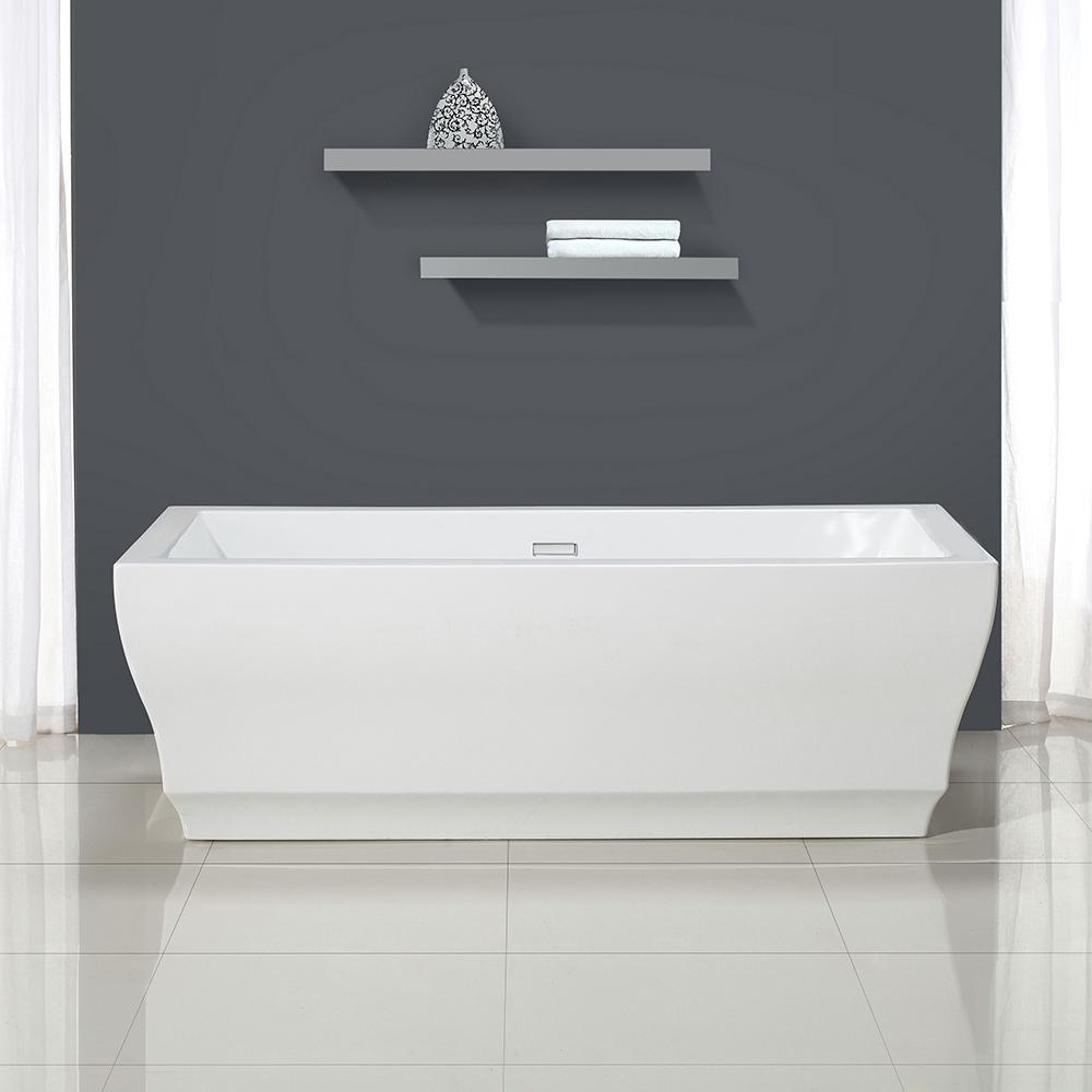 Vita 69 in. Acrylic Flatbottom Freestanding Bathtub in White