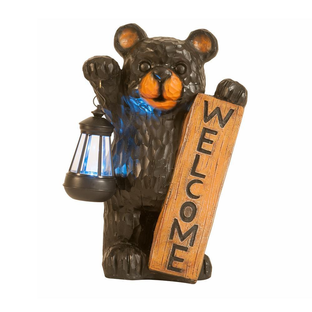 Sunjoy Welcome Bear Solar LED Lantern, Brown