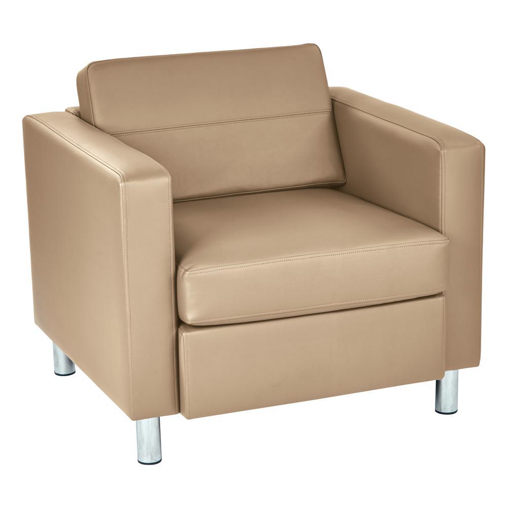 OSP Home Furnishings Pacific Dillon Buff Vinyl Fabric Arm Chair PAC51-R104