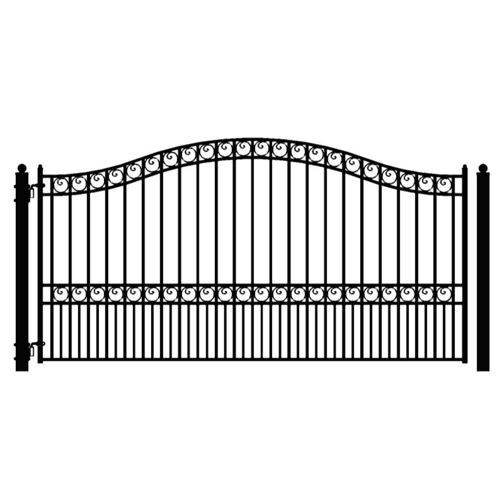 Paris Style 16 ft. x 6 ft. Black Steel Single Swing Driveway Fence Gate