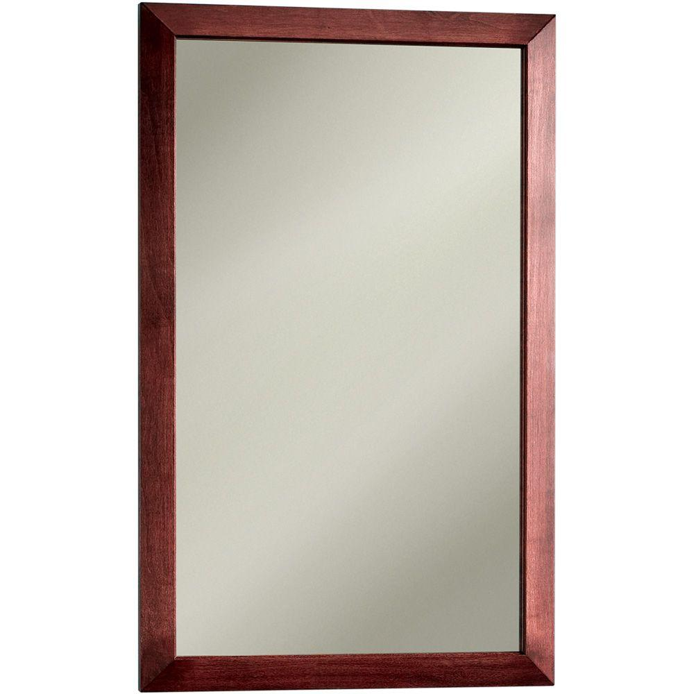 null City 16.5 in. W x 26.5 in. H x 5.25 in. D Recessed or Surface Mount Mirrored Medicine Cabinet in Cherry