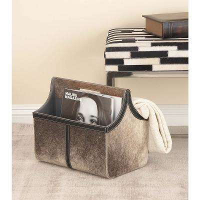 Real Distressed Gray Leather and Wood Freestanding Magazine Rack