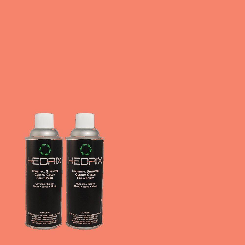 Hedrix 11 oz. Match of 170B-5 Youthful Coral Gloss Custom Spray Paint (2-Pack)