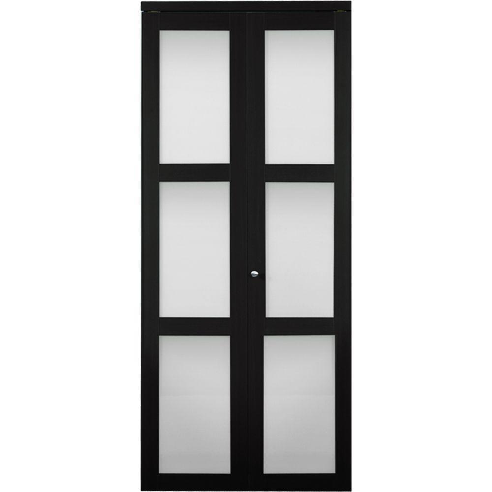 Truporte 30 In X 80 In 3100 Series 3 Lite Tempered Frosted Glass Espresso Composite Interior