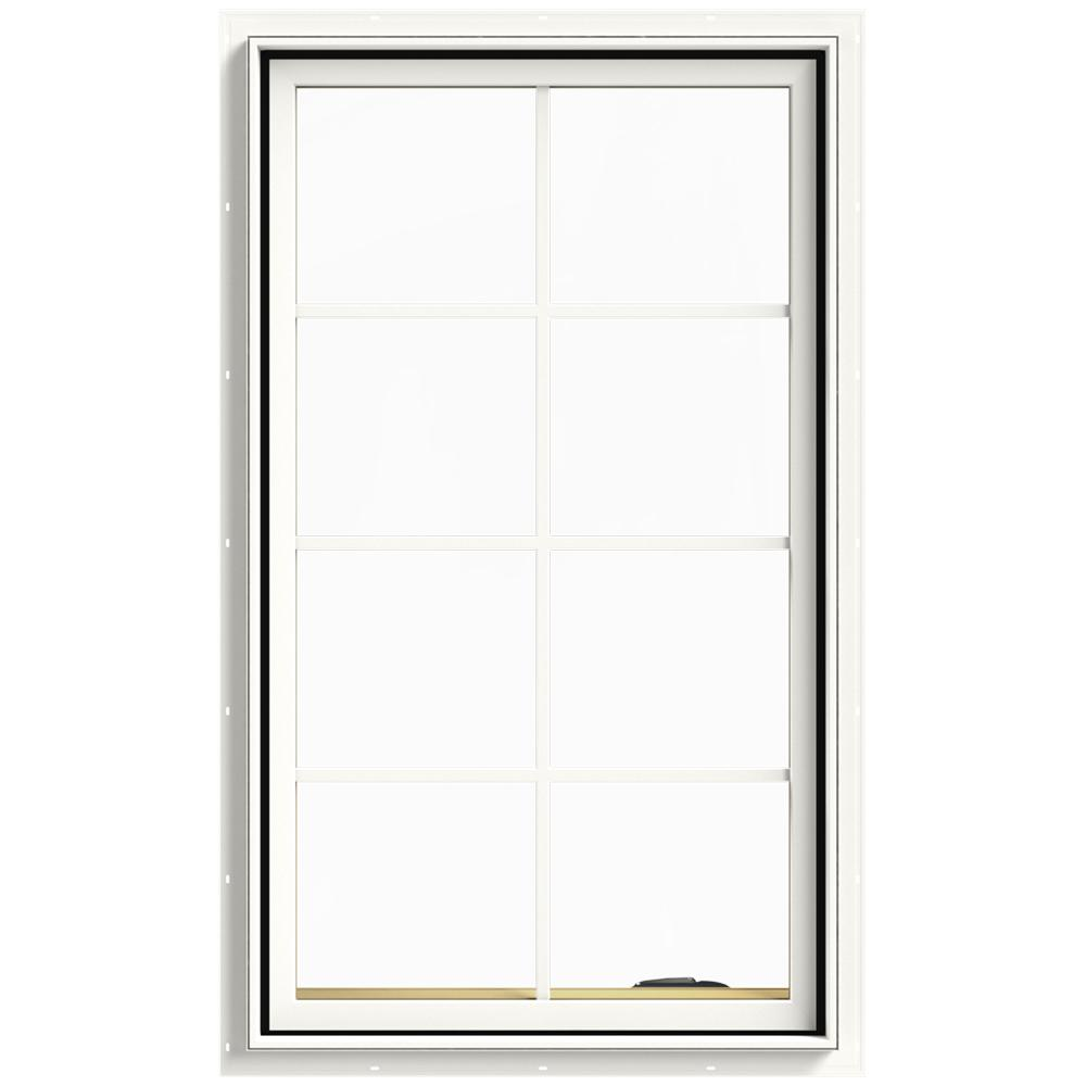 JELD-WEN 28 in. x 48 in. W-2500 Series White Painted Clad Wood Right-Handed Casement Window with Colonial Grids/Grilles