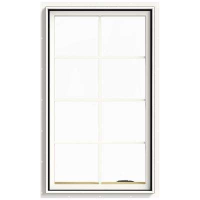 28 in. x 48 in. W-2500 Series White Painted Clad Wood Right-Handed Casement Window with Colonial Grids/Grilles