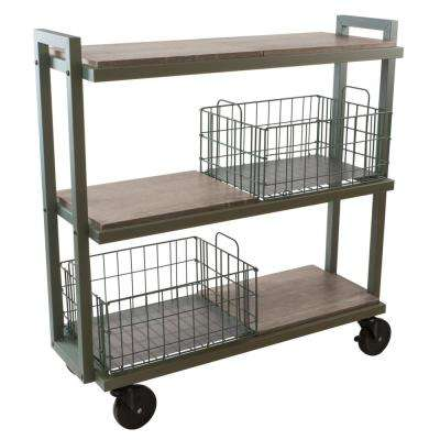 3-Tier Steel Cart System Wide in Green