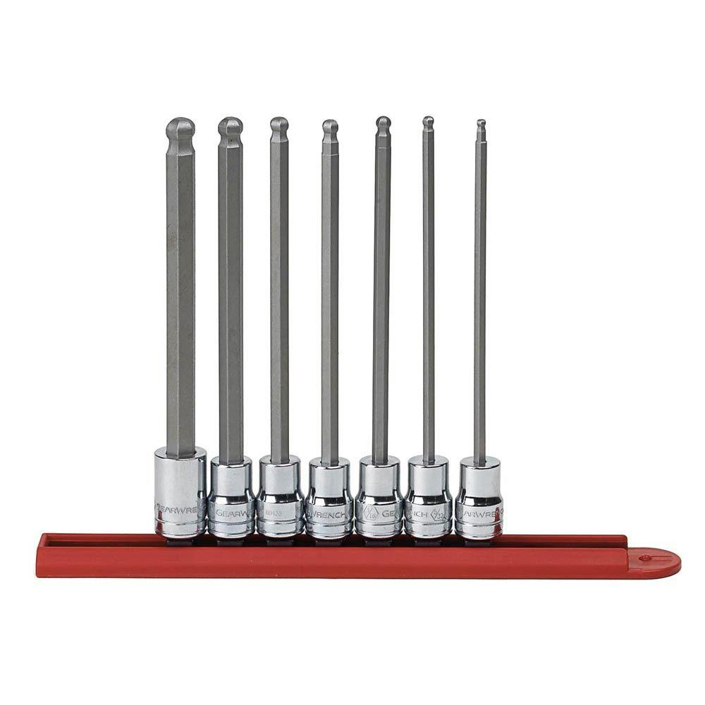 3/8 in. Drive SAE Ball Hex Bit Socket Set (7-Piece)