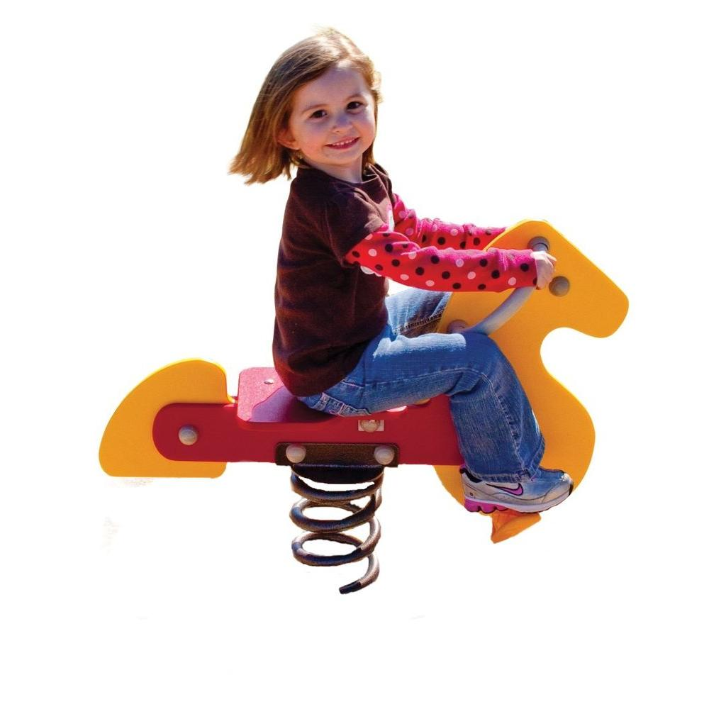 Ultra Play Yellow and Red Playground Commercial Horse Spring Rider